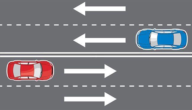 Двойная сплошная является осевой линией дорожного полотна
