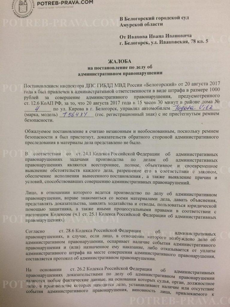 Пример заполнения жалобы на сотрудника ГИБДД за не пристегнутыйремень (1)