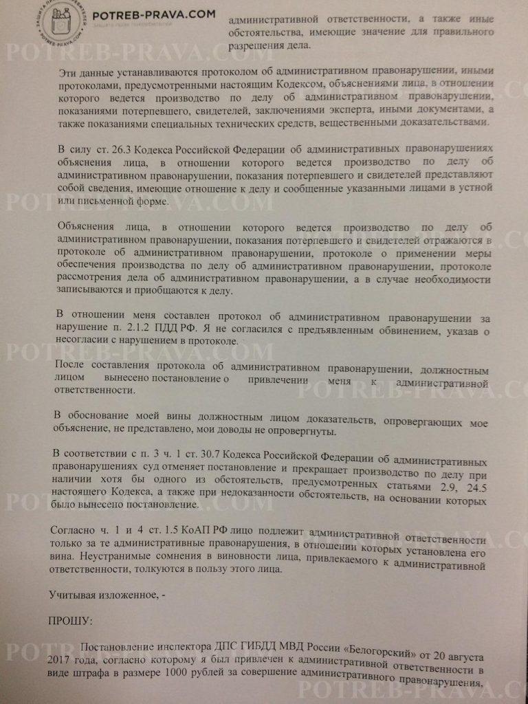 Пример заполнения жалобы на сотрудника ГИБДД за не пристегнутыйремень (2)