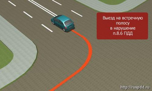 Обгон на дороге, не являющейся главной транспортного средства с включенным левым поворотником