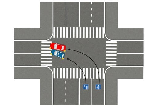 Схема: поворот налево из правой полосы разрешённый – ДТП