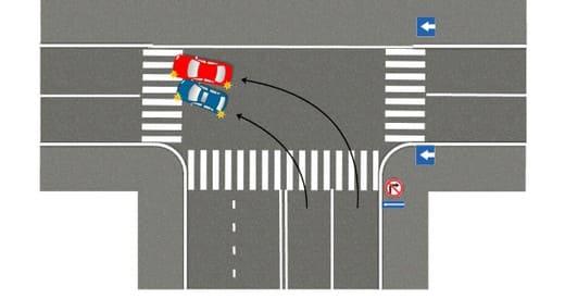 Схема: поворот налево на одностороннюю дорогу