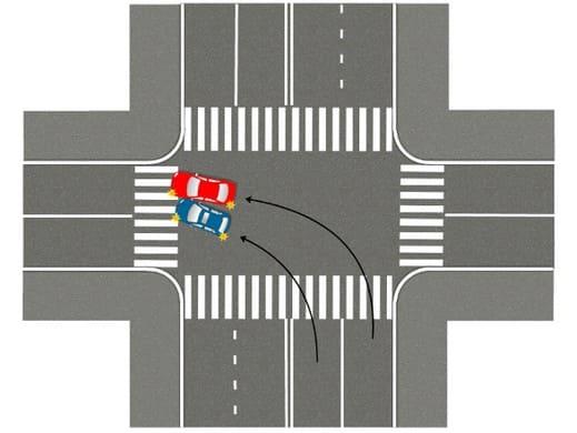 Схема перекрёстка: поворачивал налево не из крайнего ряда – случилось ДТП